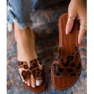 Shoes - Leopard Print Clear H Band Slip On Sandals